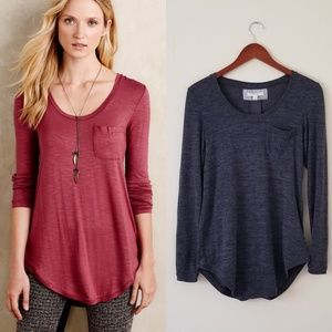Anthropologie Blue Slubbed Baseball Tee